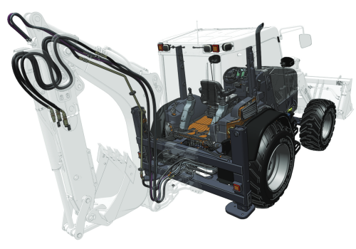 creo illustrate traktor tractor reifen bagger crane illustration konstruktion construction design CAD computer-aided-design maschine machine
