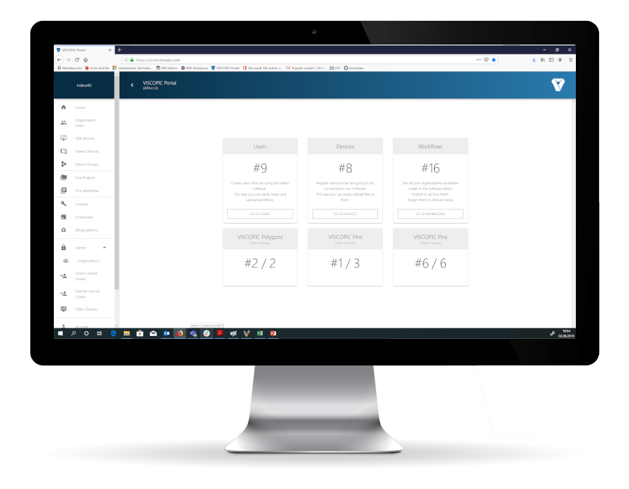 webportal webclient client content-management-system CMS augmented reality device user workflows arbeitsabläufe benutzer online-portal viscopic nutzerverwaltung verwaltung