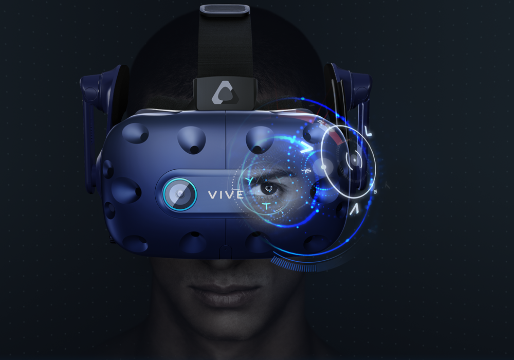 htc vive pro eye vr virtual reality headset hmd head mounted display immersiv spatial audio tracking best sound 360° degrees eye-tracking lens visual vision man