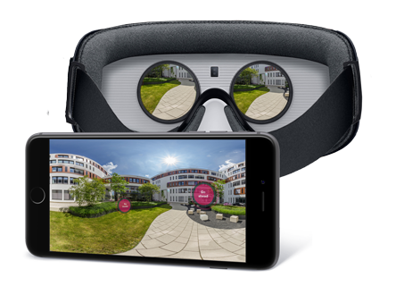 vr glasses brillen 360° viewer virtual reality oculus go ios android facebook point of interest marketing information company presentation unternehmenspräsentation umgebung google cardboard